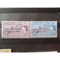 Бермуды 1953 колония Англии Карта островов Надпечатка** Полная серия