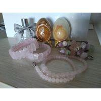 Розовый кварц .редкие вещи бусы с резьбой ручной работы и браслет