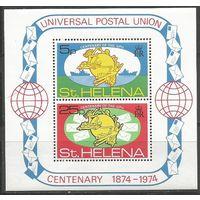 Остров Св. Елены. 100 лет Всемирному Почтовому Союзу. 1974г. Mi#Бл1.