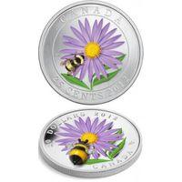 Монета Канады 20 доларов 2013г. (шмель на цветке) цветная. посеребряная. распродажа