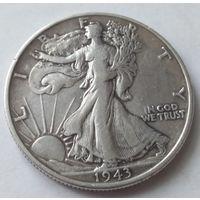 США 1/2 доллара 1943 года Серебро 0.900