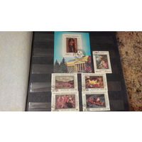 Живопись, культура, искусство, марки, Мадагаскар, 1987, блок и 5 марок