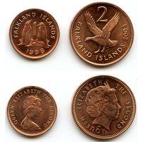 Фолклендские острова 1 пенни 2 пенса 1998, 2004 гг. (Фауна, Животные, Птицы, Гусь, Пингвин)