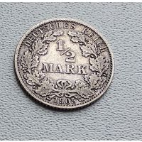 "Германия 1/2 марки, 1905 ""A"" - Берлин  7-10-2"