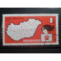 Венгрия 1973 карта Венгрии, почтовая индексация