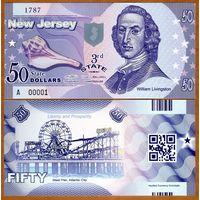 США - 50 Dollars - 3 штат New Jersey - 2014 - Polymer - UNC