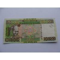 """Гвинея. 500 франков 2006 год """"Девушка в национальном костюме. Угольная шахта"""""""