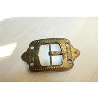 Старая, латунная пряжка от ремня, размер 13.5*7.5