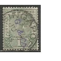 Стрейтс Селтментс. Королева Виктория. 1892г. Mi#64.