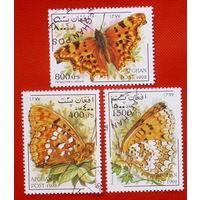 Афганистан. Бабочки. ( 3 марки ) 1998 года.