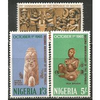 Нигерия. 2-я годовщина Республики. 1965г. Mi#172-74. Серия.