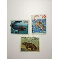 Польша 1965. Доисторические животные.