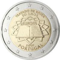 2 евро 2007 Португалия 50-летие подписания Римского договора UNC из ролла