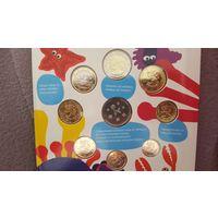 """Набор монет Евро Финляндия 2011 год (8 монет + Жетон """"Цветы"""") """"Детский Набор"""""""