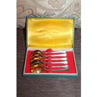 Мельхиоровые, кофейные ложечки, времён СССР, в посеребрении и позолоте, 6 штук, длина 12 см.