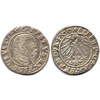 Грош 1546, Пруссия (ленник Польши), Альберт Гогенцоллерн. Более редкий год, портрет с длинной клиновидной бородой, высокий воротник, R1. Коллекционное состояние