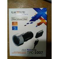 Автомобильное зарядное устройство от прикуривателя на USB Texet TPC-1007 2.1A