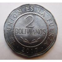 Боливия 2 боливиано 2017 г.