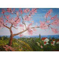 """Картина маслом """"Весна на море"""" мастихин (400х300х20) холст на подрамнике"""
