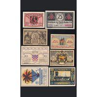 Германия, Нотгельды, 1921, 8 штук.