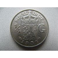 Нидерландская Индия 1/4 гульдена 1939 г. серебро