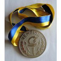 """Спортивная медаль """"Чемпион города Конотоп"""". Диаметр 8 см. Тяжёлая."""