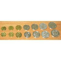 Киргизстан 2008-2009 компл 7 монет 1,10,50 тийин, 1,3,5,10 сом UNC