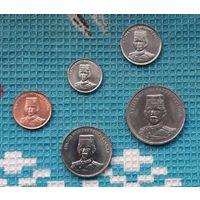 Бруней набор монет 1, 5, 10, 20, 50 сен, UNC. Султан Хассанал Болкиах.