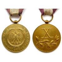 Польша. RP. 1918-39г. Медаль За долголетнюю службу - 10 лет. Люкс.