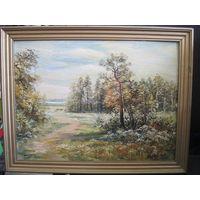 Пейзаж маслом на картоне 40х30 см в деревянной раме. Автор Татьяна Дольская.