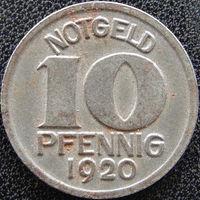 YS: Германия, Halle, 10 пфеннигов 1920, нотгельд города Халле, железо, Funck# 187.1