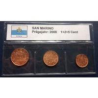 Сан-Марино 1, 2, 5 евроцентов 2008
