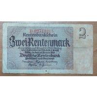2 рентмарки 1937 года - Германия (Ro.167с) - узкий номер 8 цифр - частная типография!