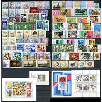ГДР - 1974г. - Полный годовой набор - MNH, одна марка с отпечатком [Mi 1907-2011] - 87 марок, 2 сцепки, 3 блока, 1 малый лист