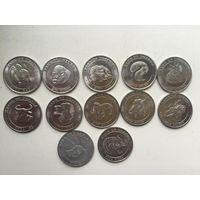 Уганда. набор монет 12 штук по 100 шиллингов 2004 год