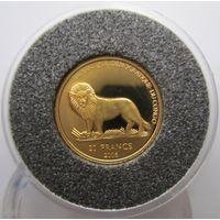 Конго. 20 франков 2006. Пруф. Золото. 7