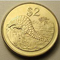 "Зимбабве. 2 доллара 2002 год КМ#12а ""Муравьед - Панголин """