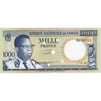 Конго, 1 000 франков, 1964 г., оригинальная перфорация, UNC. Не частый