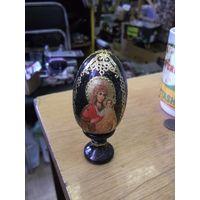 Яйцо Пасхальное деревянное расписное на подставке, 9 см.