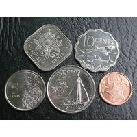 Багамские острова. Набор из пяти монет.