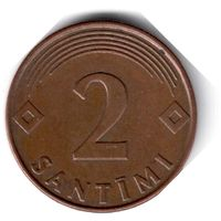 Латвия. 2 сантима. 2000 г.