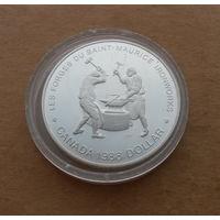 Канада, 1 доллар 1988 г., кузнецы Сент-Мориса, серебро