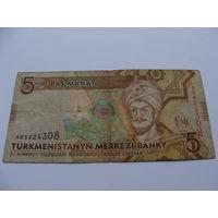Туркменистан. 5 манат 2009 год