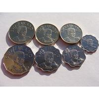 Свазиленд. набор 7 Монет 5,10,20,50 центов-1,2,5 лилангени 1999-2010 год UNC