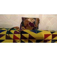 Сумочка- конверт небольшая винтажная из натуральнои кожи. Вставки кожи питона. 18х14 см