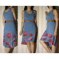 Платье летнее (коктейльное) с ремешком (новое), размер M (цвет серо-синий)  Состав: хлопок 95%, эластан 5%