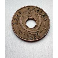 """Британская Восточная Африка 5 центов, """"H"""" - Хитон, Бирмингем 1957 3-1-9"""