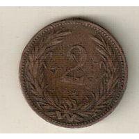 Венгрия 2 филлер 1893