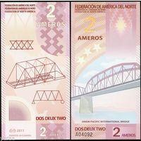 Федерация Северной Америки - 2 Ameros - 2011 - Polymer - UNC