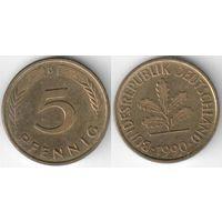 Германия ФРГ 5 пфеннигов 1990 D